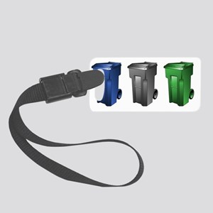 garbage_cans_black_blue_green Small Luggage Tag