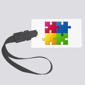 Autism Awareness Puzzle Large Luggage Tag