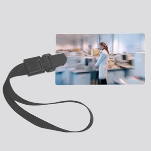 Scientist in a laboratory Large Luggage Tag