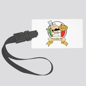 Italian Pizza Chef Large Luggage Tag