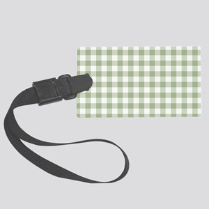 Sage Green Gingham Checked Patte Large Luggage Tag