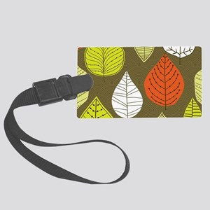 Leaves on Green Mid Century Modern Luggage Tag