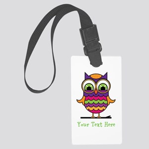 Customizable Whimsical Owl Large Luggage Tag