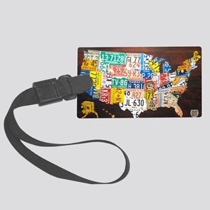 United States License Plate Map Large Luggage Tag