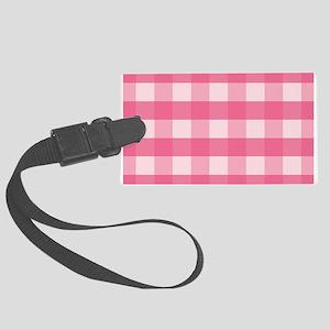 Gingham Checks Pink Large Luggage Tag