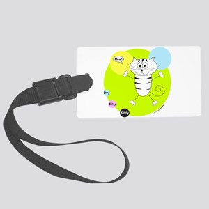 LIME GREEN PINK BLUE KITTY Luggage Tag