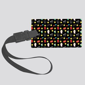 Movie Themed Items Pattern Large Luggage Tag