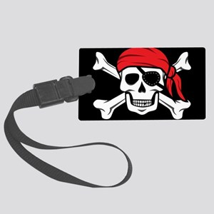 Jolly Roger Pirate (on Black) Large Luggage Tag