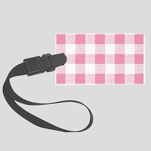 Pink Gingham Pattern Large Luggage Tag