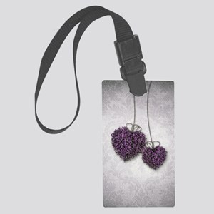 Purple Hearts Large Luggage Tag