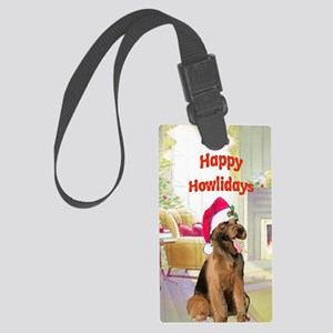 2-airedale card Large Luggage Tag