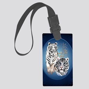 Two White Tigers Oval LargePoste Large Luggage Tag