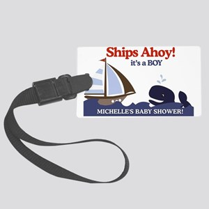 Ships Ahoy Whale Baby Shower sig Large Luggage Tag