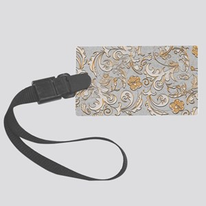 Gold and Silver Scrolls Large Luggage Tag
