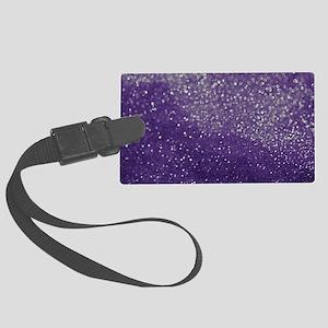 Purple Glitter  Bokeh Large Luggage Tag