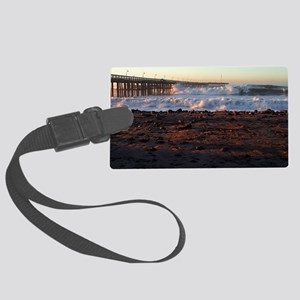 Ocean Wave Storm Pier Large Luggage Tag