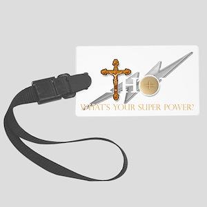 Catholic superpower Large Luggage Tag