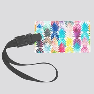 Hawaiian Pineapple Pattern Tropi Large Luggage Tag