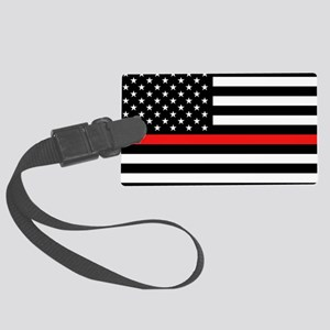 Firefighter: Black Flag & Red Li Large Luggage Tag