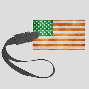 Irish American Flag Large Luggage Tag