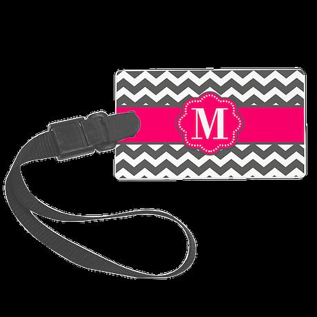 Gray Pink Chevron Monogram Luggage Tag