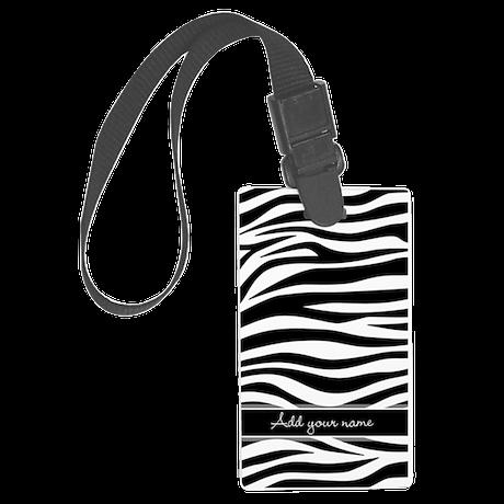 zebra stripes with name Large Luggage Tag