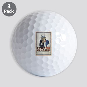 WWI US Army Uncle Sam I Want You Golf Balls