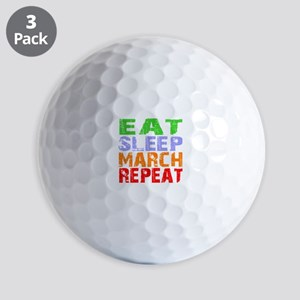 Eat Sleep March Repeat Dark Golf Balls
