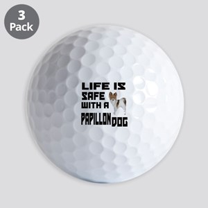 Life Is Safe With A Papillon Dog Design Golf Balls