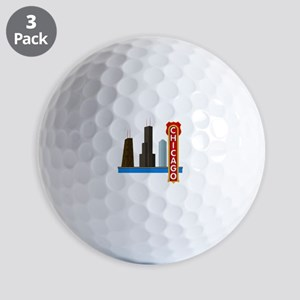 Chicago Illinois Skyline Golf Balls