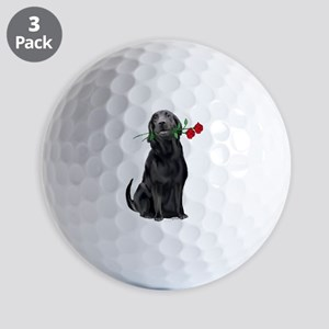 black_lab_with_roses Golf Balls