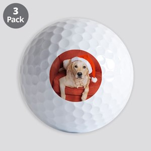 Dog with Christmas hat on armchair Golf Balls