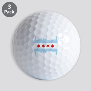 Chicago Flag Skyline Golf Ball