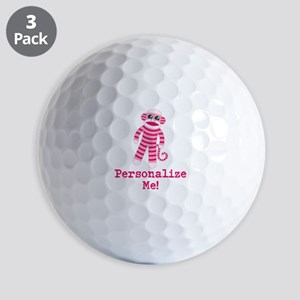 Pink Sock Monkey Golf Balls