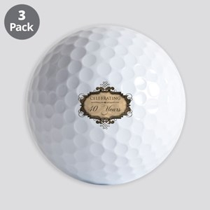 40th Wedding Aniversary (Rustic) Golf Balls