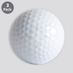 compass rose eroded skull pirate flag Golf Balls