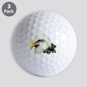 Watercolor Bald Eagle Bird Golf Balls