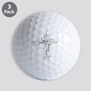 Christian cross word collage Golf Balls