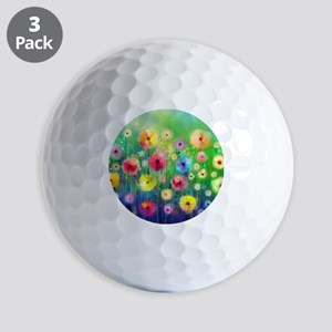 Watercolor Flowers Golf Balls