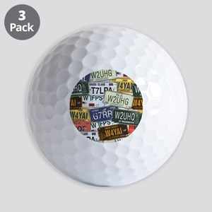 Vintage License Plates Golf Ball