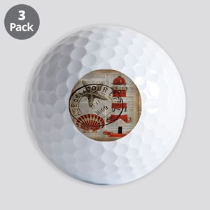 vintage lighthouse sea shells Golf Balls