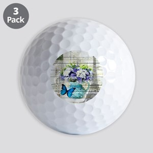 blue floral paris eiffel tower Golf Balls