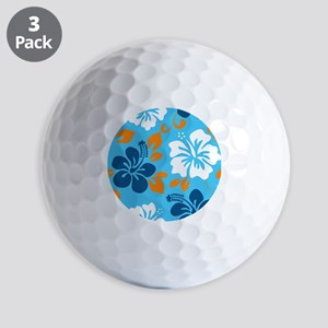 Light blue-navy-orange-white Hawaiian h Golf Balls