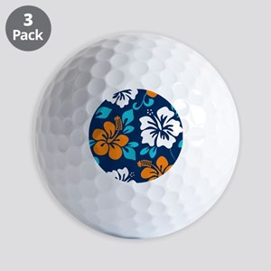 Navy-orange-light blue-white Hawaiian Hibiscus Gol