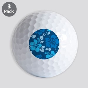 Shades of blue Hawaiian hibiscus Golf Balls