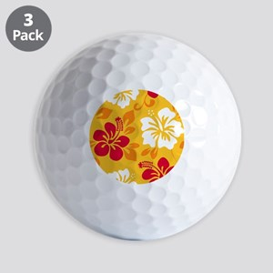 Yellow-red-orange-white Hawaiian Hibiscus Golf Bal