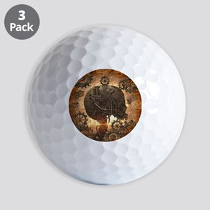 Awesome steampunk Skull with gears Golf Ball