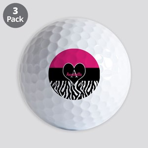 Pink Zebra Heart Monogram Personalized Golf Ball