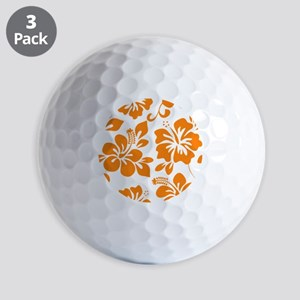 Orange Hibiscus Golf Ball