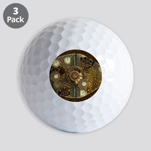 Steampunk, awessome clocks with gears Golf Ball